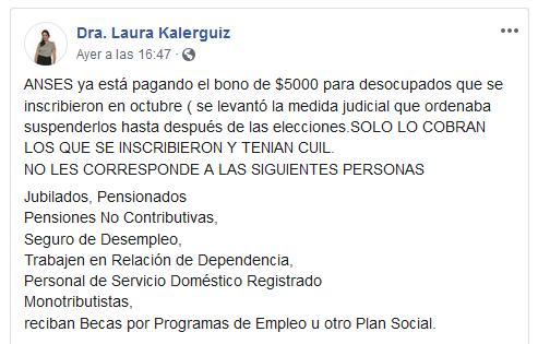 Laura Kalerguiz bono de anses