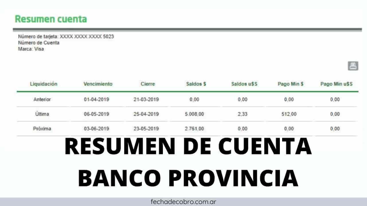 ver resumen de cuenta tarjeta banco provincia