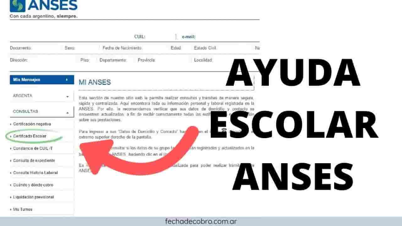 presetnar el formulario ayuda escolar y subir en anses