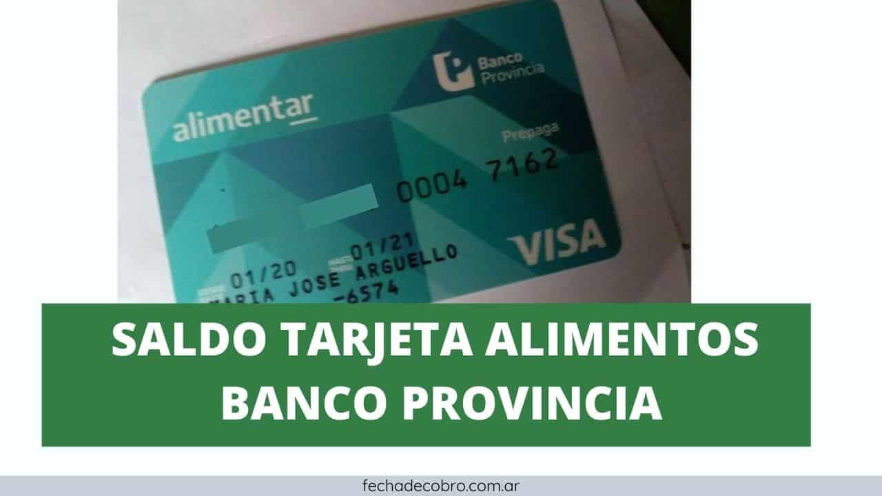 consultar saldo tarjeta alimentos del banco provincia