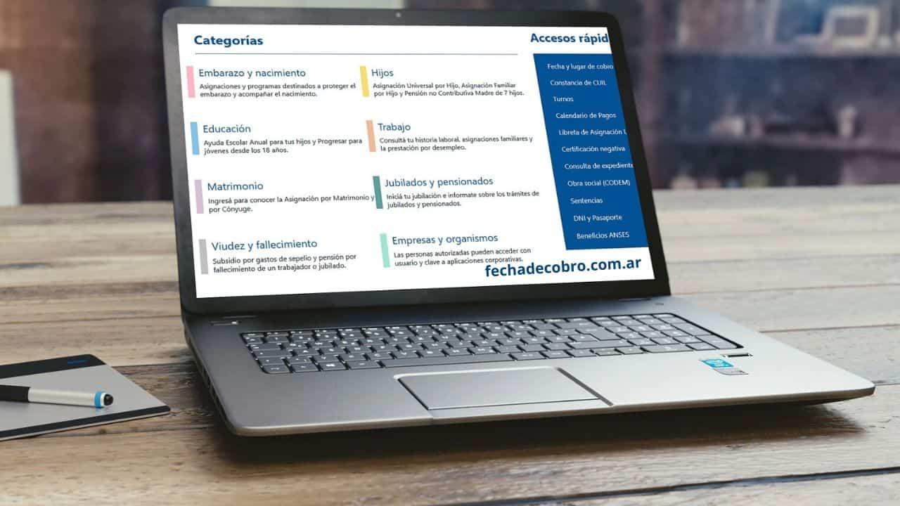 consultar categorias pagina anses