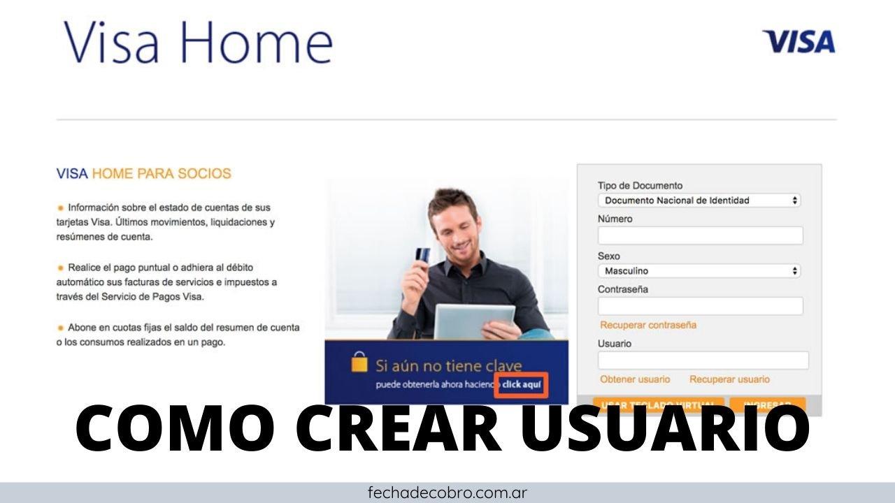 como crear usuario de visa home