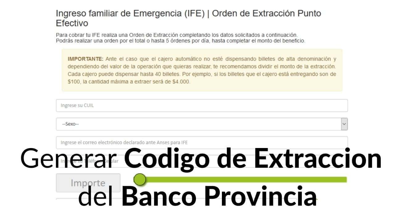 generar codigo de Extraccion del Banco Provincia