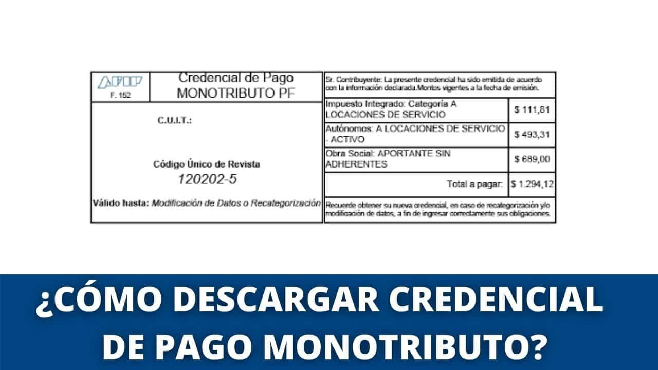 descargar imprimir Credencial de pago monotributo