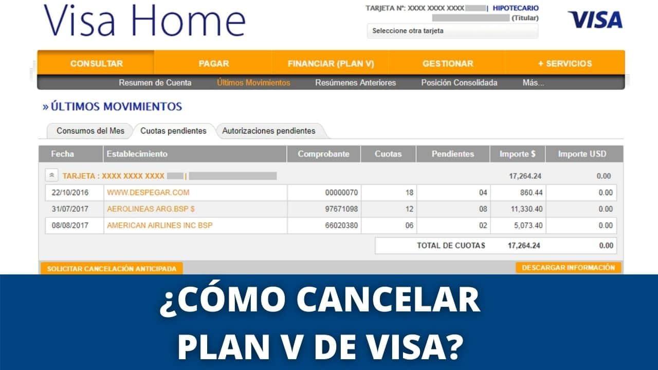 baja del plan V de VISA
