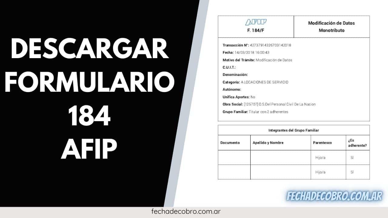descargar formulario 184 afip