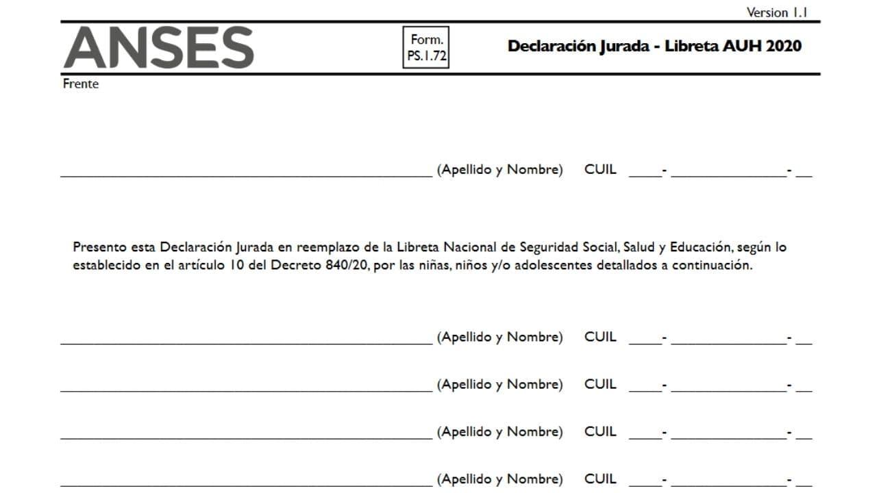 formulario pdf declaracion jurada de asignacion por hijo