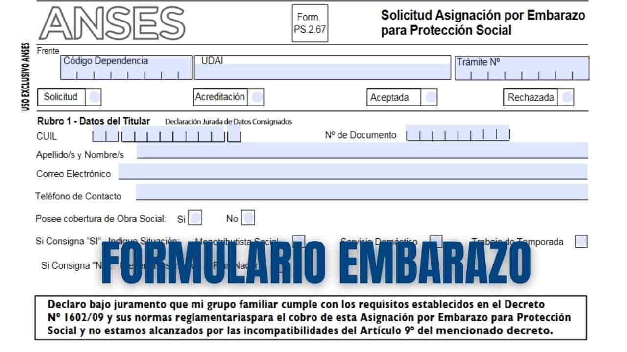 Cargar el Formulario de Asignacion por Embarazo